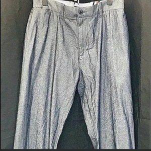 Tommy Hilfiger Pants Cotton Chambray Blue Grayish